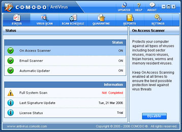 Comodo Antivirus - Active Screen