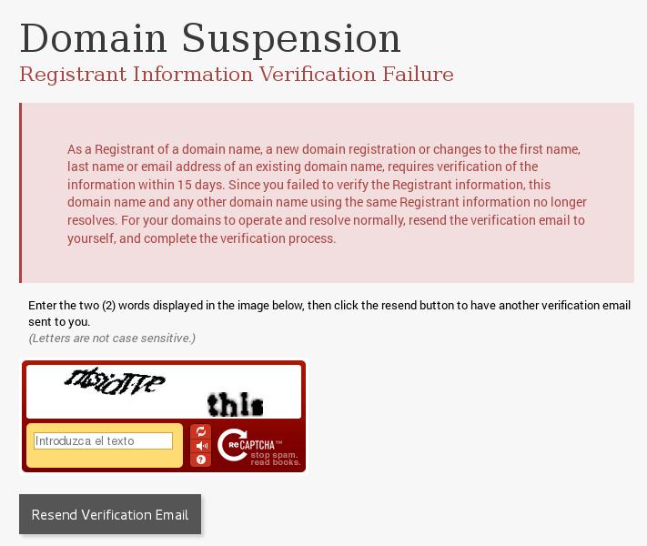 ICANN Domain Suspension